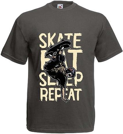lepni.me Camisetas Hombre Eat-Sleep-Skate-Repeat para el Amante del monopatín, Regalos del Skater, Ropa Que anda en monopatín