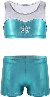 iiniim Kids Girls Two Piece Gymnastics Sports Dance Outfit Shiny Tank Top with Shorts Set for Dancing Swimmwear