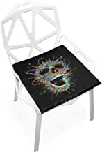 Pingshoes Seat Cushion Colorful Skull Black Chair Cushion Offices Butt Chair Pads Square Wheelchairs Mat for Student