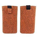 Universell bis max. 6,4 Zoll Filztasche Handytasche Handyhülle Tasche Hülle Schutzhülle aus Filz für Smartphone wie Sony, LG, Samsung, HTC, Huawei, Geräte mit max. 17,9x9,2x1cm (Melange Orange)
