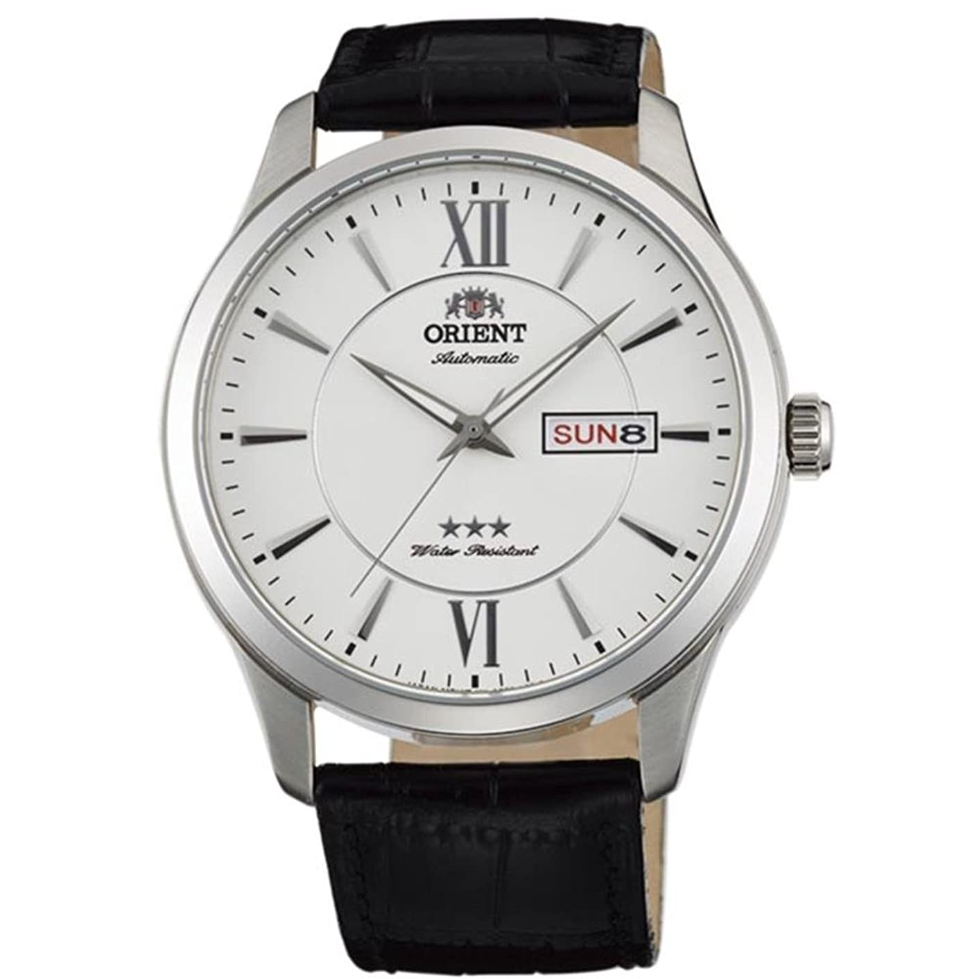 Orient Men's 43mm Black Leather Band Steel Case Automatic White Dial Analog Watch FAB0B003W9