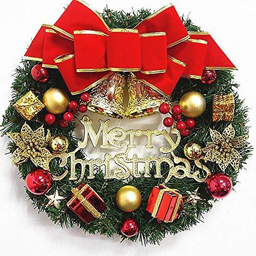 Ghirlanda natalizia con fiocco e campana dorata e ghirlanda natalizia classica per porte di casa, finestre, interni ed esterni, 2#