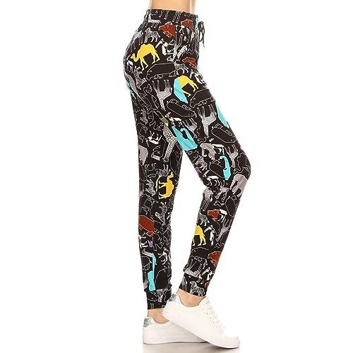 27a1503632f1 Leggings Depot Premium Jogger Women s Popular Printed High Waist Track Yoga  Full Pants (S-