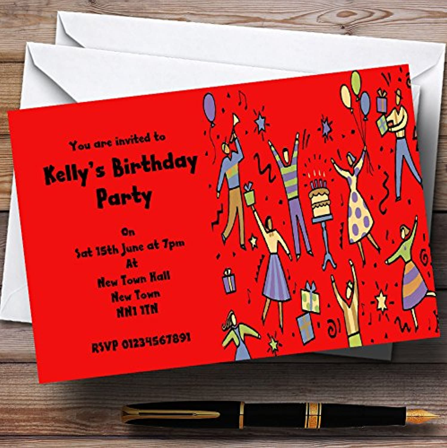 Red Dancing People Personalised Party Invitations   Invites & Envelopes