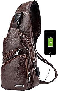 Men's Vintage Leather Sling Bag Shoulder Messenger Crossbody Pack with USB Charge Port Casual Bag Dark Brown
