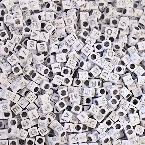 ToBeIT Acrylic Alphabet Letter'A-Z' Cube Beads 1000 pcs Silver Letter Beads for Jewelry Making, Bracelets, Necklaces