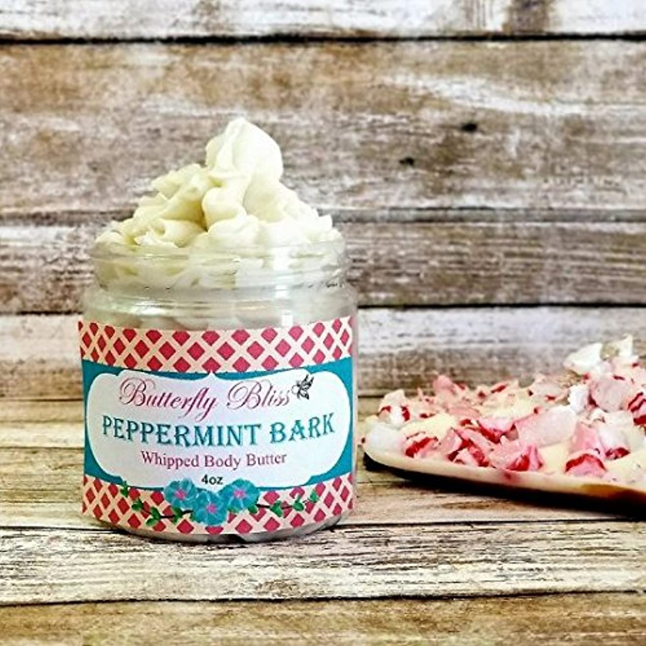 Peppermint Bark Whipped Body Butter, natural lotion, organic, 4oz jar, made with shea butter, mango butter, coconut oil, almond oil