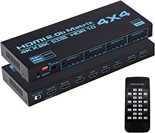 Enbuer HDMI Matrix Switch 4x4, 4K HDMI Matrix Switcher Splitter 4 in 4 Out Box with EDID Extractor and IR Remote Control S...