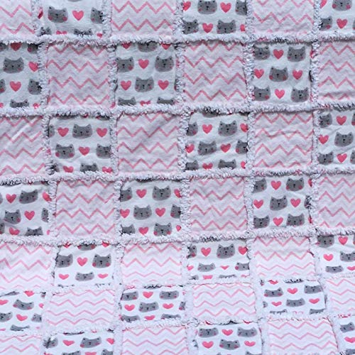 Pink and grey cats flannel baby toddler rag quilt