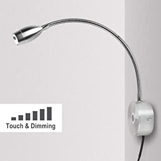 Reading Light for Books in Bed Dimmable Touch Switch Reading Lamps Bedside Wall Mounted LED Gooseneck Headboard Spotlight (3W, Warm White)