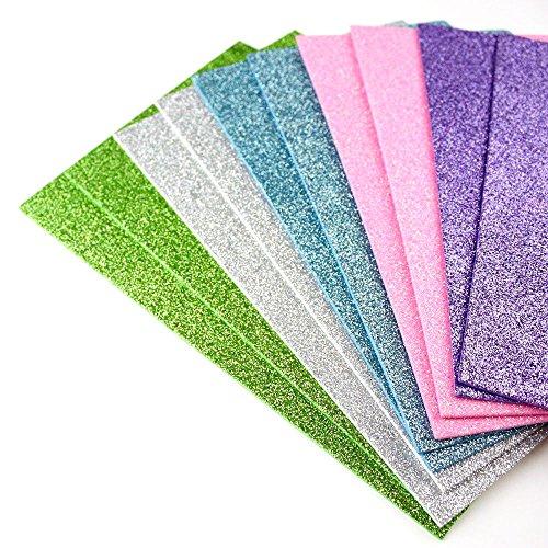Glitzerschaumblatt zum Basteln und zur Kartengestaltung, als Party-Dekoration, verschiedene Farben, DIN A5, 10 Stück