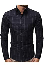 AngelSpace Mens Regular-Fit Long Sleeve Plus-Size Relaxed-Fit Pure Colour Shirt