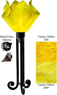 product image for Jezebel Radiance Torch Light. Hardware: Black. Glass: Canary Yellow, Flame Style