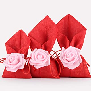 20Pack Rose Drawstring Candy Gift Bags Burlap Bags for Wedding Favor Party Arts Crafts Sachet Pouches,Red,12x22CM