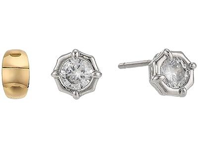 AllSaints Wide Huggie Stud Earrings Set (Gold) Earring