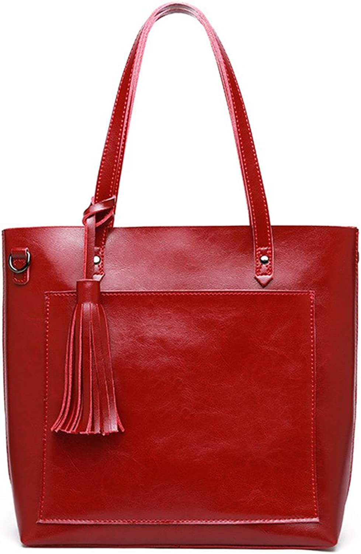 Sturdy New Tassel Wax Leather Shoulder Handbag Simple Shopping Handbag Ladies Leisure Large Capacity Handbag Large Capacity (color   Wine red)