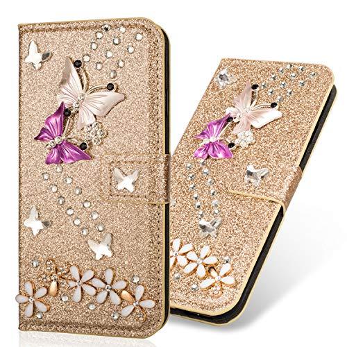 Billig Glitter Flip für Huawei Mate 20,Ledertasche Diamond Loves Magnet Sparkle Glitzer Musterg Soft Slim Retro Bookstyle Stand Funktion Karteneinschub Wallet Hülle Schutzhülle