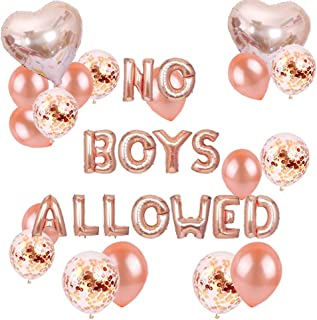 NO BOYS ALLOWED Balloons Decorating Kits for Girls Bachelorette Party Decorations Rose Gold Balloons Banner Pajamas Party ...