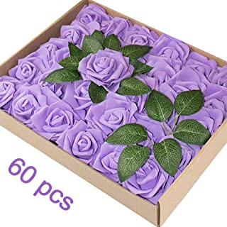 Hobein Artificial Flowers, Real Looking Fake Roses Decoration for DIY Wedding Bridesmaid Bridal Bouquets Centerpieces, Party Decoration, Home Display Decorations,Baby Shower Party
