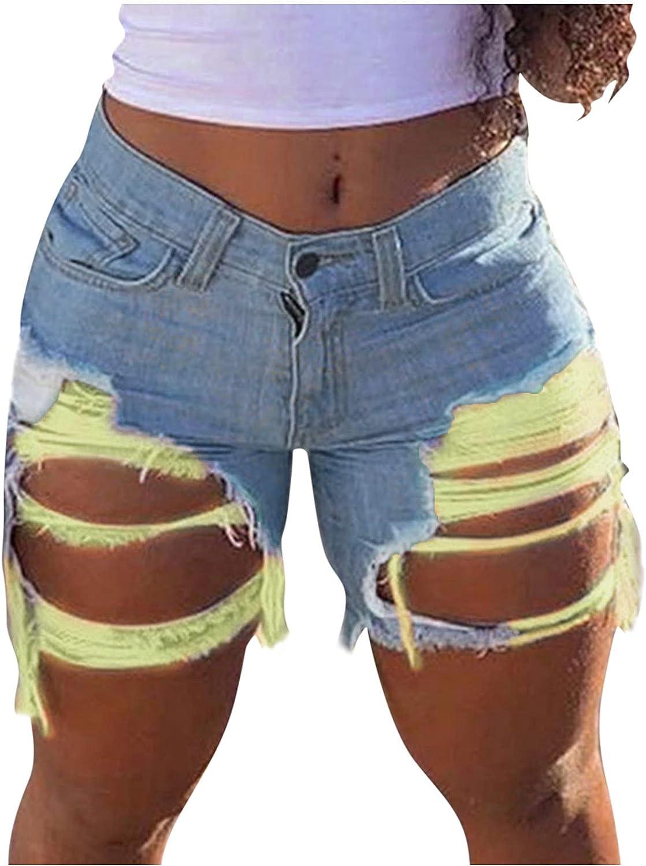 Denim Shorts for Women,Women Juniors Ripped Stretchy Mid Rise Bermuda Shorts Summer Beach Denim Shorts
