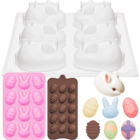 3 Pack Easter Silicone Molds, 15-Cavity Easter Egg Mold 6-Cavity Bunny Mold 6-Cavity Egg and Rabbit Easter Chocolate Molds, 3D Easter Egg Silicone Mold for Easter Decorating
