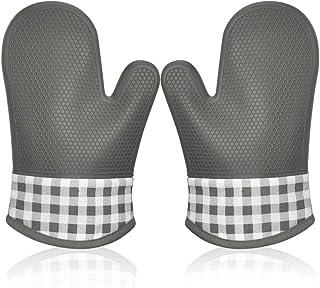 Manopla Horno Silicona para Cocina, Oven Gloves Antideslizante Guantes de Cocina Guantes Horno Dobles Resistente al Calor Guantes Cocina Profesional Manopla Doble Horno Guante de Cocina 1 Par (Gris)