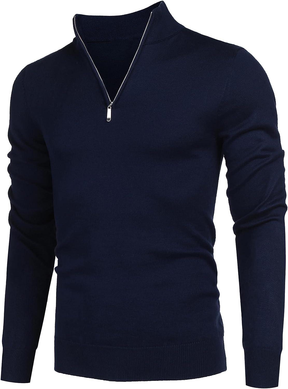 JINIDU Men's Quarter Zip-Up Pullover Sweaters Slim Fit Mock Neck Turtleneck Polo Sweater