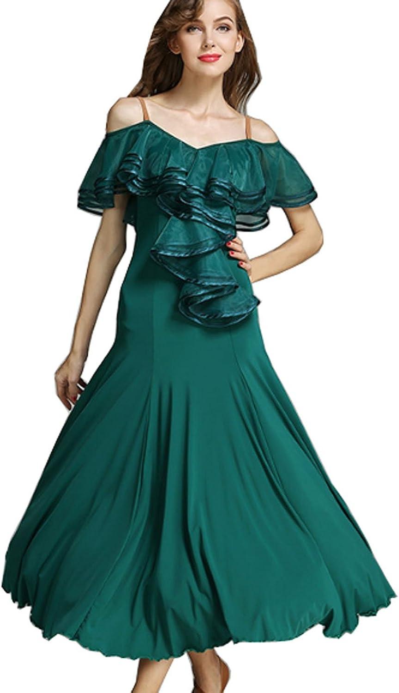 CHAGME Lotus Leaf Costume Ballroom Dress Modern Dance Skirt National Dress Waltz Dress