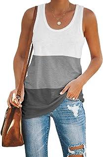 Imily Bela Womens Workout Color Block Tank Tops Racerback Yoga Basic Cotton Casual Tee Shirt