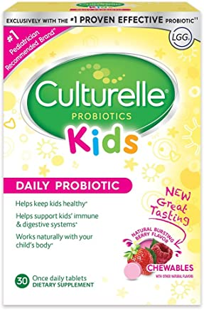 Culturelle Kids Chewables Daily Probiotic Formula, One Per Day Dietary Supplement, Contains 100% Naturally Sourced Lactobacillus GG –The Most Clinically Studied Probiotic†, 30 Count(Package may vary)