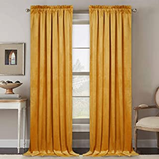 RYB HOME Velvet Curtains 96 inches - Large Window Curtain Panels for Bedroom, Heavy Weight Drapes Privacy Protect Thermal Insulated Panels for Dining Cafe Living Room, 52 x 96, Warm Gold, Set of 2