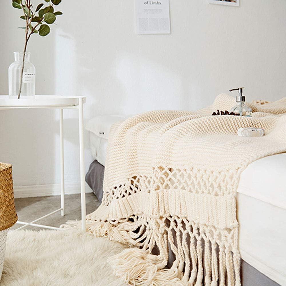 WLGQ Couverture de Jet tricotée à Franges, canapé léger et Chaud Toutes Saisons adapté aux Adultes et aux Enfants, 120 * 180 cm Gris Beige