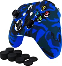 Pandaren Soft Silicone Cover for Xbox One X/Xbox One S/Xbox One Controller Set(Camou Blue Skin X 1 + FPS Pro Thumb Grip X 8)