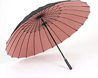 LINrxl Double Floor 24 Bone Windproof Straight Handle Umbrella, Anti-Wind Storm Black Long Handle Umbrella Super Large Reinforcement Business Umbrella (Color : Pink)