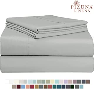 Pizuna 400 Thread Count Queen Cotton Sheets Set Light Grey, 100% Long Staple Cotton Soft Sateen Bed Sheets Deep Pocket fit Upto 15 inch (100 Cotton Sheets Queen Gray)