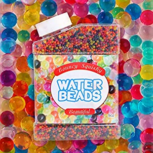 Water Beads, 9 OZ over 40,000 pcs Expanding Water Gel Beads Rainbow Mix for Sensory Play for Kids, for Orbeez Foot Spa Refill, for Vases Plants, Non-Toxic
