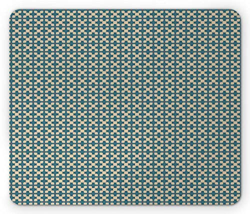 Mousepad Abstrakte Wiederholung Vintage Beeinflusste Motive Benzin Blau Beige Komfortable Customized Gummi Rutschfeste Mausmatte Gedrucktes Mousepad Rechteck Spiel 25X30Cm Persona