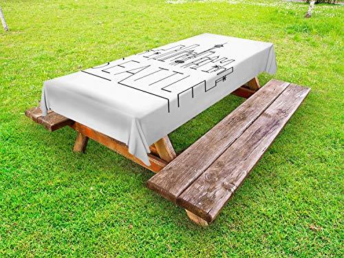ABAKUHAUS Seattle Skyline Outdoor-Tischdecke, Zeichnen mit Text, dekorative waschbare Picknick-Tischdecke, 145 x 305 cm, Charcoal Grau Weiß