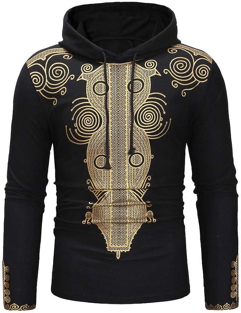 MODOQO Men's Sweatshirt Long Sleeve Dashiki Print Lightweight Pullover Hoodies