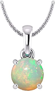 Sterling Silver Genuine or Created Round cut birthstone Pendant Necklace For Women & Girls