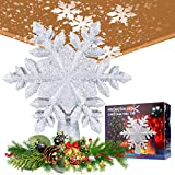 AMZLIFE Christmas Tree Topper Decorations, LED Tree Top Star Projection Lamp, Glittering White Snowflake Hollow Tree Topper(2-5 Square Meters), Rotating 3D Projector Lamp Design Light-Silver Snow