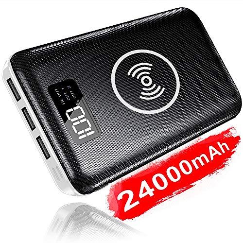 KEDRON Wireless Powerbank 24000mAh Externer Akku, 2 in 1 Kabellose Power Bank mit LCD Digital Display und Dual Input & 3 Ausgänge für das Smartphones