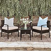 Belleze 3-Piece Rattan Two Chairs One Glass Table Set