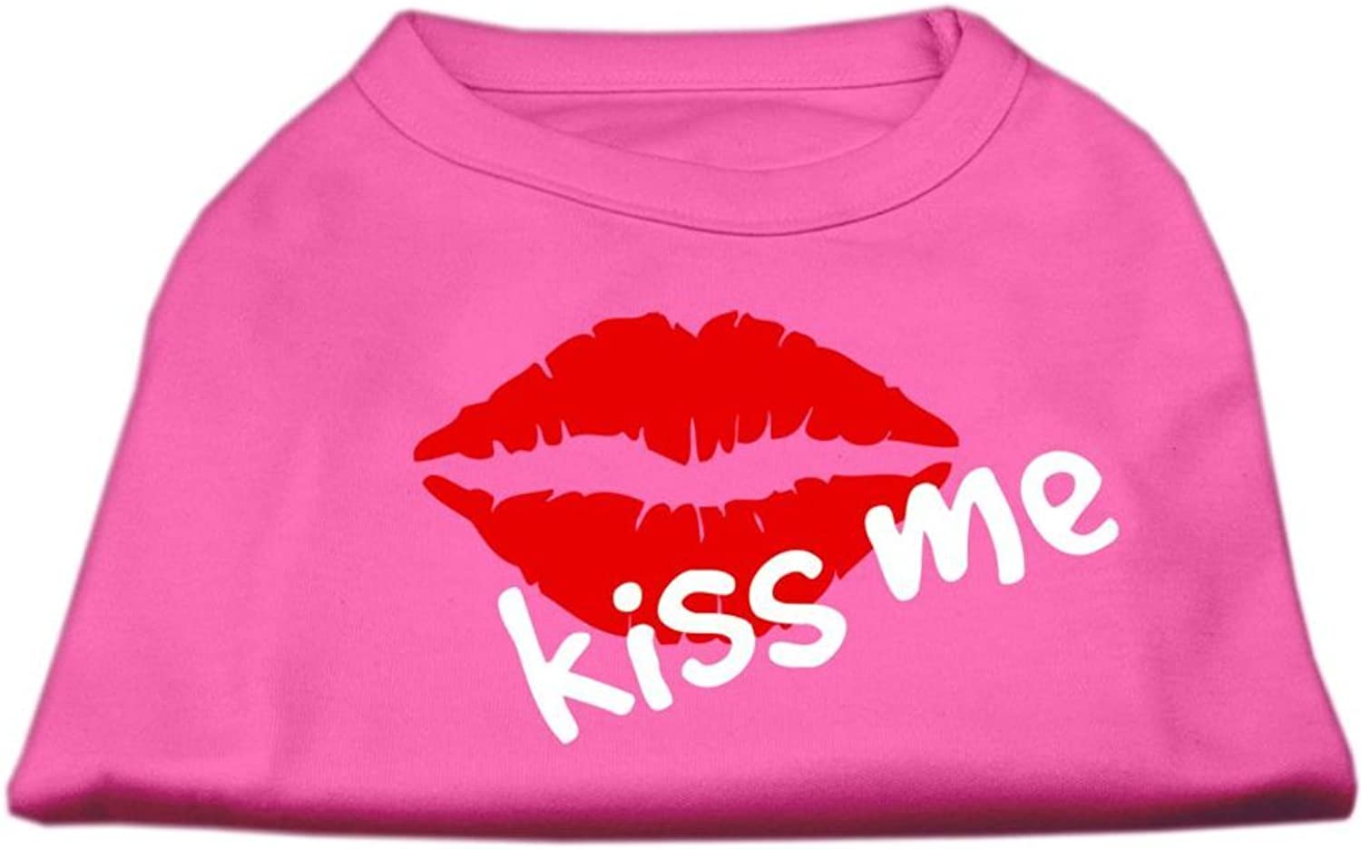 Mirage Pet Products 12Inch Kiss Me Screen Print Shirt for Pets, Medium, Bright Pink
