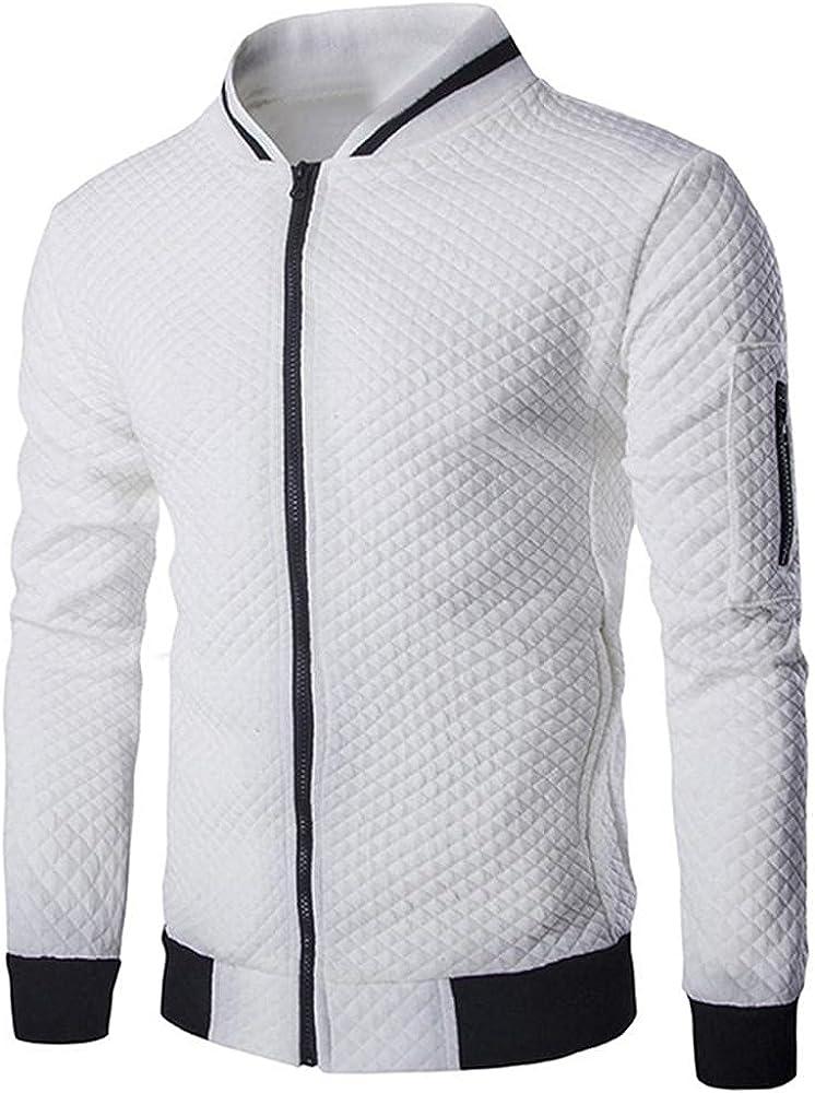 Men's Full Zip Jacket Causal Crewneck Long Sleeve Plaid Striped Cardigan Sweatshirts Athletic Pullover Coat Outwear