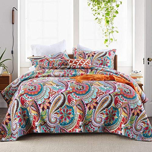 Qucover Tagesdecke 220x240cm Baumwolle Boho Stil Bettüberwurf für Doppelbett Bunte Gesteppte Decke für Sommer 230x250cm mit Kissen Set Paisley