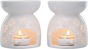 T4U Ceramic Tealight Candle Holder Oil Burner, Essential Oil Incense Aroma Diffuser Furnace Home Decoration Romantic White Set of 2 - Floral Pattern