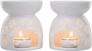 T4U Ceramic Tealight Candle Holder Oil Burner, Essential Oil Incense Aroma Diffuser Furnace Home Decoration Romantic Gift White Set of 2 - Floral Pattern