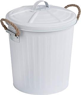 WENKO Poubelle Gara blanc - Poubelle couvercle amovible Capacité: 6 l, Acier, 24 x 28.5 x 23 cm, Blanc
