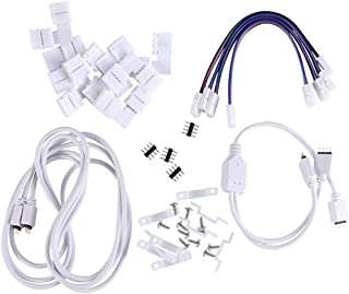 OSALADI 1 Set RGB LED Light Strip Connector 4 Pin LED Strip Jumper 10mm Strip to Power Adaptor Strip to Controller Solderless